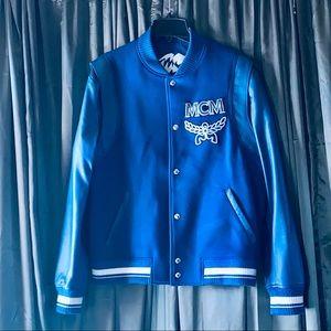 MCM Bomber Varsity Wool Leather Jacket